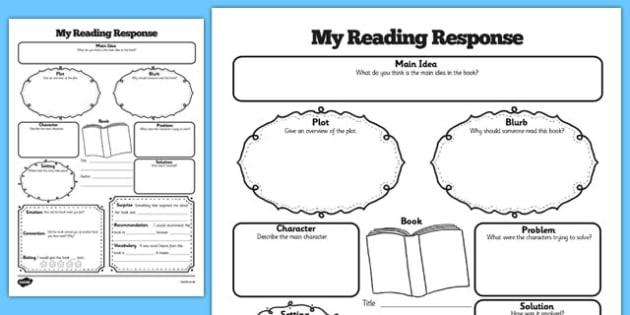Reading Response Graphic Organiser Worksheet reading – Reading Response Worksheet