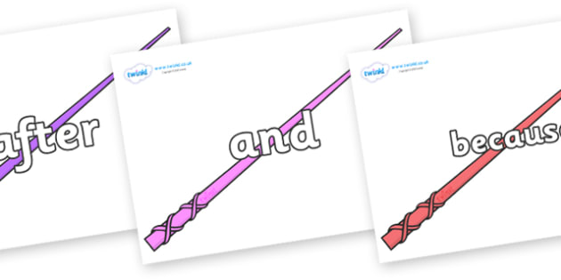 Connectives on Wands - Connectives, VCOP, connective resources, connectives display words, connective displays