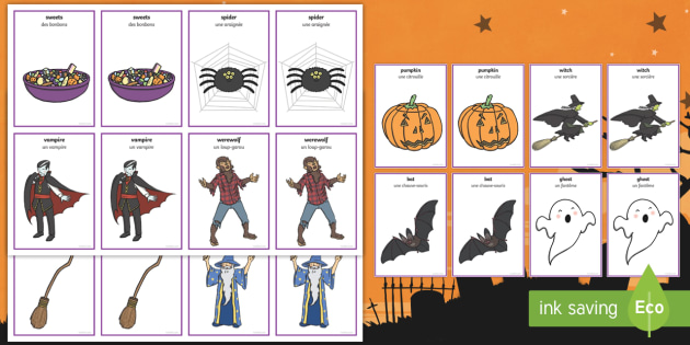 Halloween Pairs Matching Cards English/French - comparing, fun activity, KS1, early years, matching, matching game, pair game, find the pair, EAL Fr