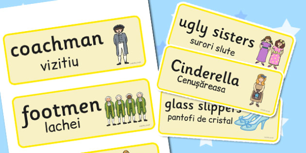 Cinderella Word Cards Romanian Translation - romanian, cinderella