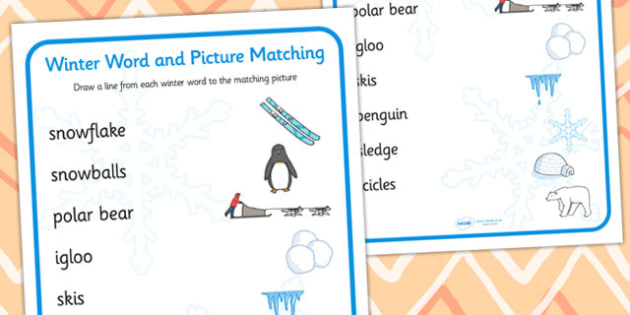Winter Word and Picture Matching Activity - winter themed, word and picture matching, winter activity, winter themed word and picture activity