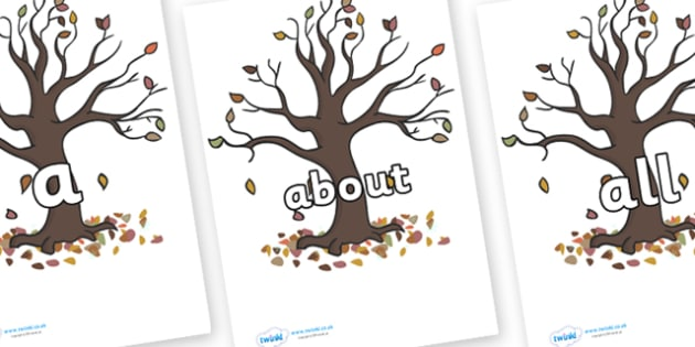 100 High Frequency Words on Autumn Trees - High frequency words, hfw, DfES Letters and Sounds, Letters and Sounds, display words