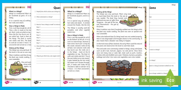 The Hangi Differentiated Reading Comprehension Activity - Maori Culture and Traditions, reading comprehension, hangi, food, Maori, kai, cooking