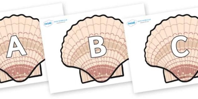 A-Z Alphabet on Seashells - A-Z, A4, display, Alphabet frieze, Display letters, Letter posters, A-Z letters, Alphabet flashcards