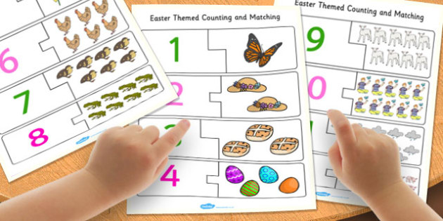 Easter Themed Counting Matching Puzzle - easter, puzzles, games