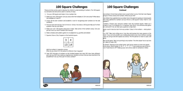 100 Square Challenges Teaching Ideas
