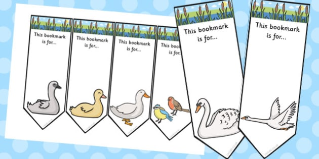 Ugly Duckling Editable Bookmarks - ugly duckling, bookmarks
