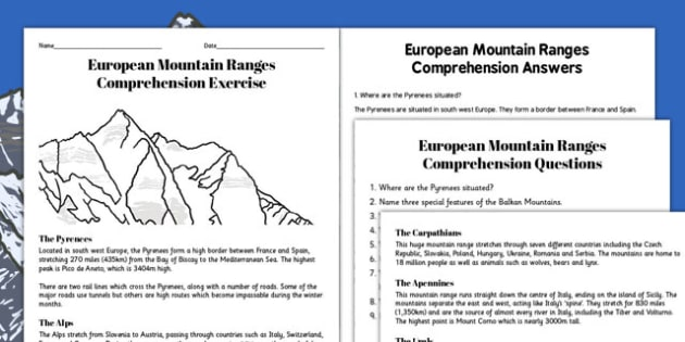 European Mountain Ranges Reading Comprehension Activity - mountains