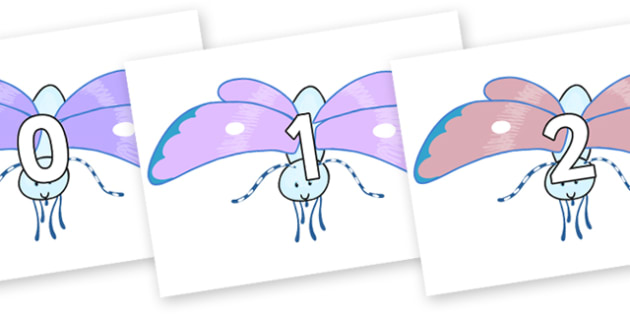 Numbers 0-100 on Blue Butterfly to Support Teaching on The Crunching Munching Caterpillar - 0-100, foundation stage numeracy, Number recognition, Number flashcards, counting, number frieze, Display numbers, number posters