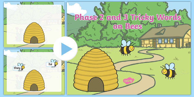 Phase 2 and 3 Tricky Words on Bees Coming Out of Hive PowerPoint-phase two, phase 2, phase three, phase 3, phase words, phases, themed letters