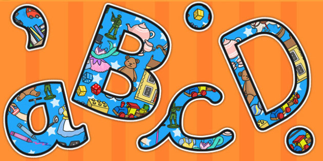 Toys Themed A4 Display Lettering - toys, lettering, letters