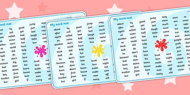 Splat Themed KS1 Word Mat - splat, key stage one, KS1, word mat