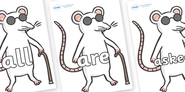 Tricky Words on Blind Mice - Tricky words, DfES Letters and Sounds, Letters and sounds, display, words