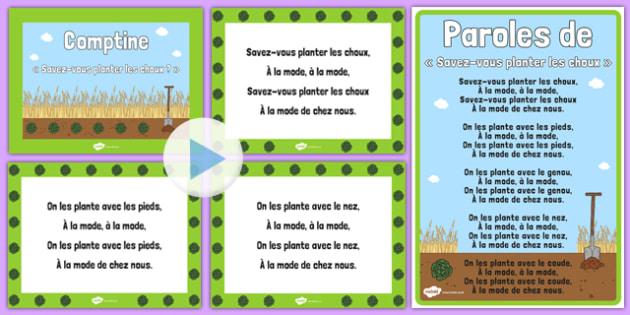 Savez vous planter des choux ? Nursery Rhyme - french, nursery rhyme, poster, a4, savez vous planter des choux ?