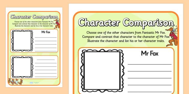 Fantastic Mr Fox Character Comparison Worksheets - fantastic mr fox, character comparison worksheets, fantastic mr fox character comparison