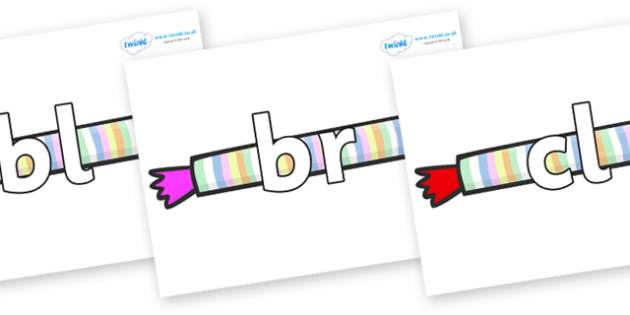 Initial Letter Blends on Sweets - Initial Letters, initial letter, letter blend, letter blends, consonant, consonants, digraph, trigraph, literacy, alphabet, letters, foundation stage literacy