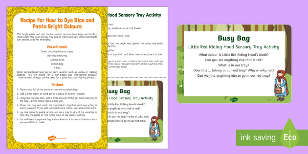 Little Red Riding Hood Sensory Tray Busy Bag Prompt Card and Resource Pack