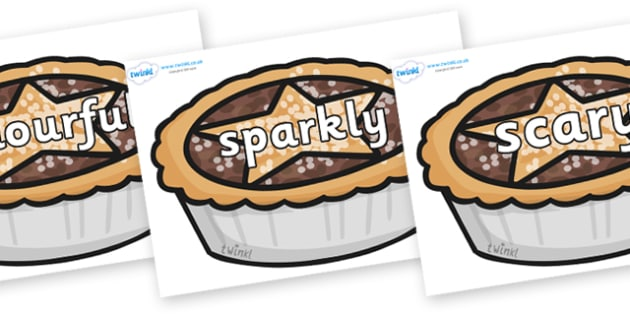 Wow Words on Mince Pies - Wow words, adjectives, VCOP, describing, Wow, display, poster, wow display, tasty, scary, ugly, beautiful, colourful sharp, bouncy