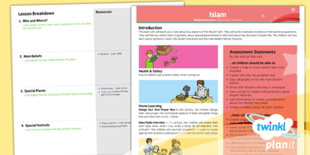 PlanIt - RE Year 3 - Islam Planning Overview - planit, re, religious education, islam, planning, overview