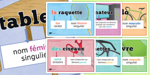 Articles définis et indéfinis posters - definite, indefinite, articles, classroom, display, posters