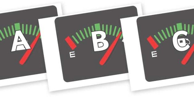 A-Z Alphabet on Dials - A-Z, A4, display, Alphabet frieze, Display letters, Letter posters, A-Z letters, Alphabet flashcards