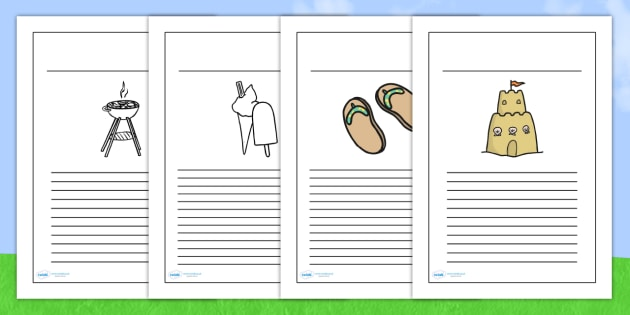Summer Writing Frames - seasons, writing template, weather, write