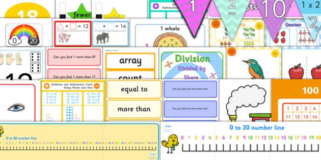 KS1 Maths Number Display Pack Year 1 - key stage one, maths, mathematics, display, number
