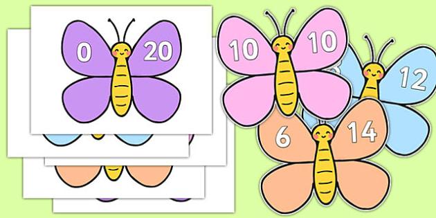 Number Bonds to 20 on Cute Butterflies - number bonds, 20, cute, butterflies