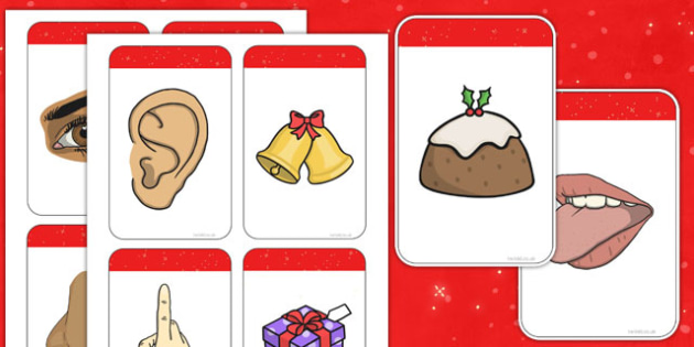 Five Senses Matching Cards (Christmas) - Christmas, xmas, matching, activity, game, senses, tree, advent, nativity, santa, father christmas, Jesus, tree, stocking, present, activity, cracker, angel, snowman, advent , bauble