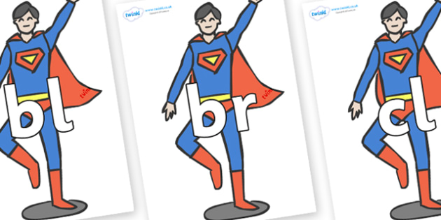 Initial Letter Blends on Superheroes (Plain) - Initial Letters, initial letter, letter blend, letter blends, consonant, consonants, digraph, trigraph, literacy, alphabet, letters, foundation stage literacy