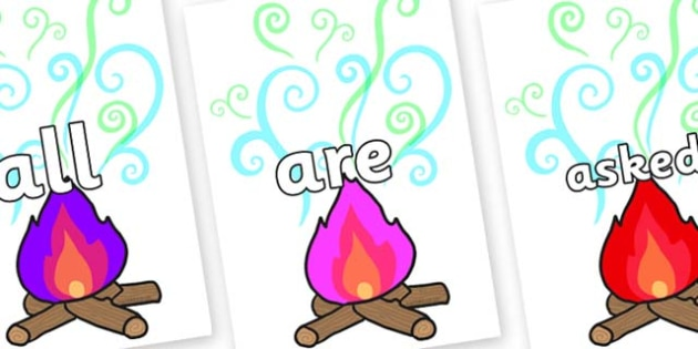 Tricky Words on Magic Fire - Tricky words, DfES Letters and Sounds, Letters and sounds, display, words