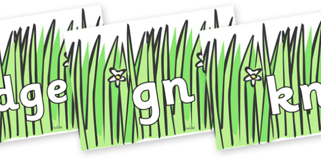Silent Letters on Wavy Grass - Silent Letters, silent letter, letter blend, consonant, consonants, digraph, trigraph, A-Z letters, literacy, alphabet, letters, alternative sounds