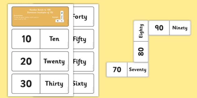 Number Bonds to 100 Matching Dominoes Multiples of 10 - maths, numeracy, game, activity, counting, adding, early years, ks1, key stage 1
