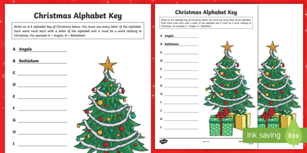 Christmas Alphabet Key Activity Sheet-Australia