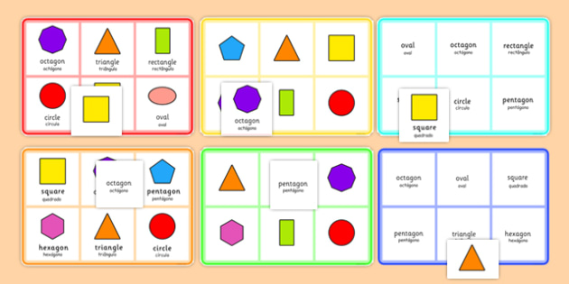2D Shape Bingo Portuguese Translation - portuguese, 2d shape, bingo, game, activity, 2d, shape, maths