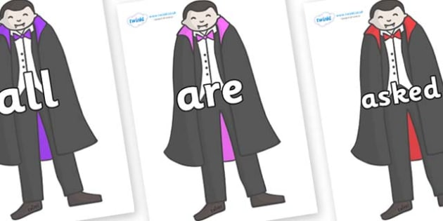Tricky Words on Vampires - Tricky words, DfES Letters and Sounds, Letters and sounds, display, words