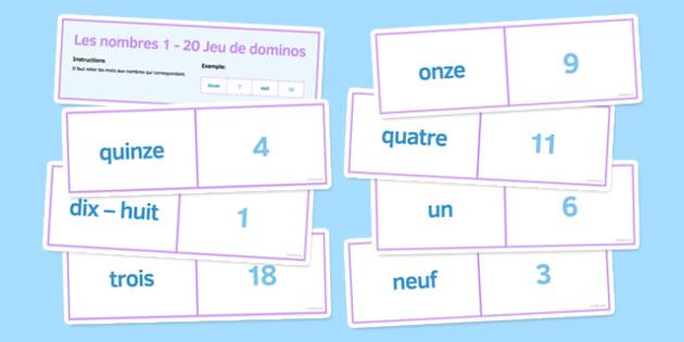 Les nombres de 1 à 20 Jeu de dominos - french, numbers, 1-20, dominoes, activity