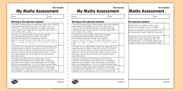 KS2 Maths Exemplification Checklist