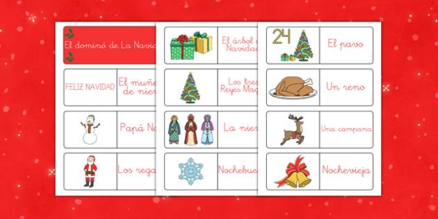 Domino de vocabulario de Navidad - juego, navidades, regalos, fiestas nacionales