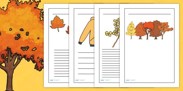 Autumn Handwriting Lines - seasons, weather, writing templates