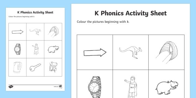 k Phonics Colouring Activity Sheet - Republic of Ireland, Phonics Resources, sounding out, phonics assessment, initial sounds, activity s