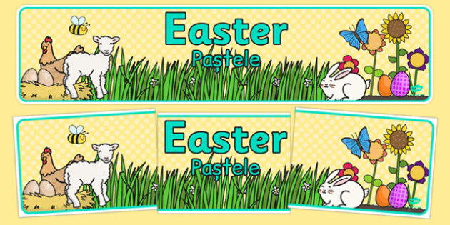 Easter Display Banner Romanian Translation - romanian, Easter Topic, Easter Banner, Happy Easter Banner, Easter Topic, Foundation, KS1, Easter, Easter resource, Easter teaching resource, Easter Display