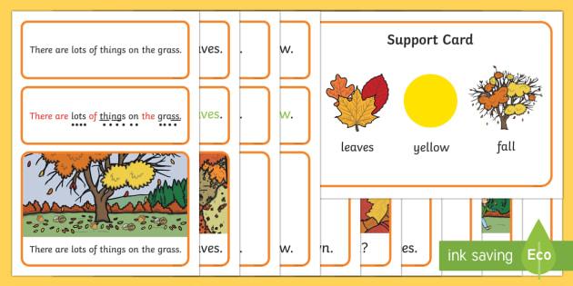 Autumn Simple Sentence Cards - reading, sentences, eyfs, word cards, decoding, phase 4, grapheme, phoneme, sound, tricky words