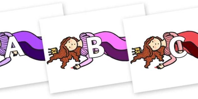 A-Z Alphabet on Sleeping Beauty Asleep - A-Z, A4, display, Alphabet frieze, Display letters, Letter posters, A-Z letters, Alphabet flashcards