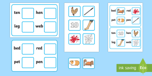 Workstation Pack:  Picture to CVC (e) Four Word Matching Activity Pack