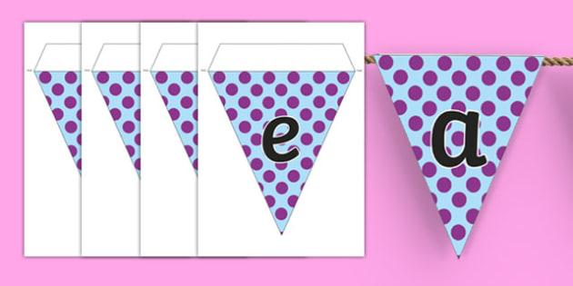 Purple Polka Dot Alphabet Display Bunting - purple, polka dot, alphabet, display bunting, display, bunting