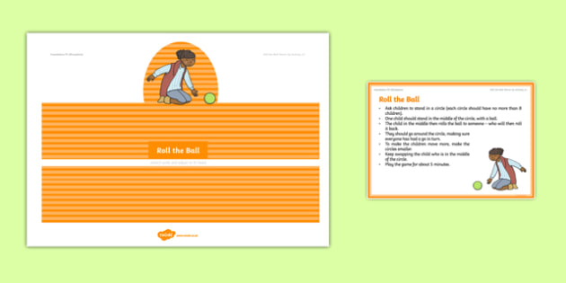 Foundation PE (Reception) Roll the Ball Warm-Up Activity Card - physical activity, foundation stage, physical development, games, dance, gymnastics
