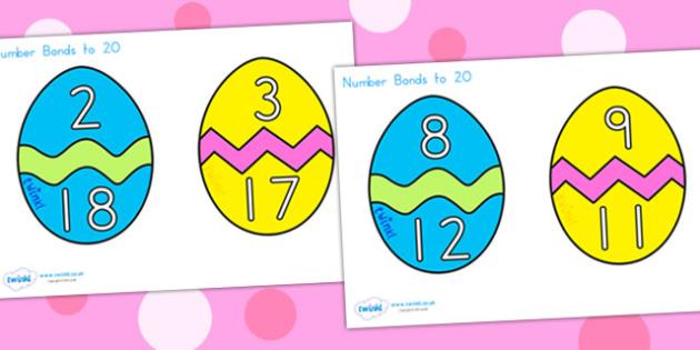 Easter Egg Number Bonds To 20 - easter, easter egg, number bonds