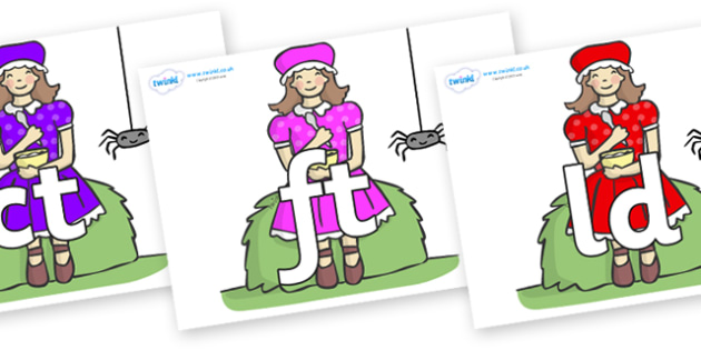 Final Letter Blends on Little Miss Muffet - Final Letters, final letter, letter blend, letter blends, consonant, consonants, digraph, trigraph, literacy, alphabet, letters, foundation stage literacy