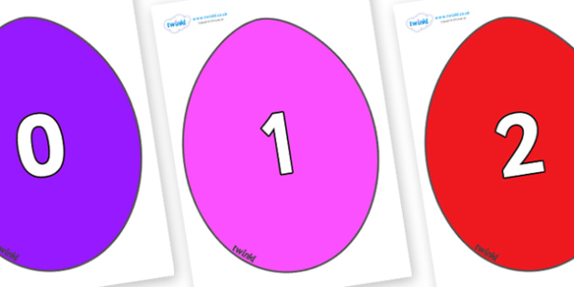 Numbers 0-31 on Easter Eggs (Coloured) - 0-31, foundation stage numeracy, Number recognition, Number flashcards, counting, number frieze, Display numbers, number posters